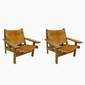 Hunting Sessel mit Gestell aus Eiche & Sitz aus Leder von Kurt Østervig für KP Møbler, 1960er, 2er Set