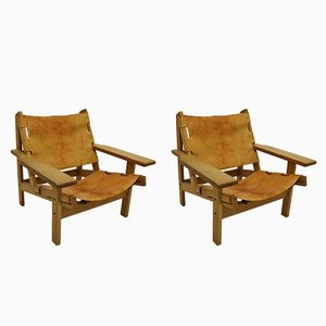 Oak & Saddle Leather Hunting Chairs by Kurt Østervig for KP Møbler, 1960s, Set of 2