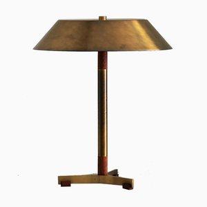 Lámpara de mesa Presindent de latón y teca de Johannes Hammerborg para Fog & Mørup, años 60