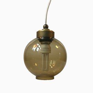 Lámpara colgante escandinava esférica de cristal ahumado, años 60