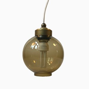 Scandinavian Smoked Glass Ball Pendant Light, 1960s