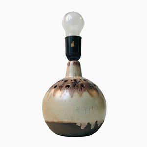 Lámpara de mesa danesa vintage esférica de cerámica, años 70