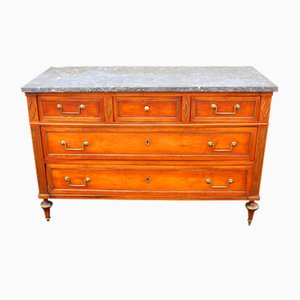 Antique French Fruitwood Commode with Brass Inlay & Marble Top