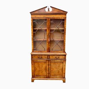 English Burr Walnut Georgian Style Bookcase Cabinet 1920s