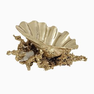 Bronze & Quartz Table Centrepiece by Claude Victor Boeltz, 1970s