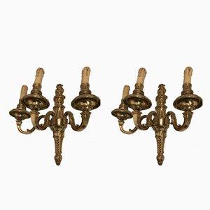 Appliques Vintage en Bronze Doré, Set de 2