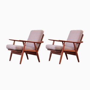 Scandinavian Modern Danish Teak GE270 Lounge Chairs by Hans Wegner for Getama, 1950s, Set of 2