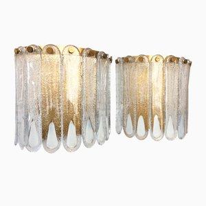 Applique in vetro di Murano di Mazzega, anni '70, set di 2