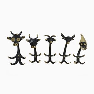 Coat Hooks by Walter Bosse for Hertha Baller, 1950s, Set of 5
