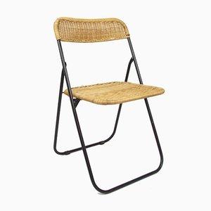 Vintage Klappstuhl mit Sitz aus Korbgeflecht, 1970er