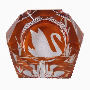 Vintage Amber Crystal Ashtray from Julia Piechowicach