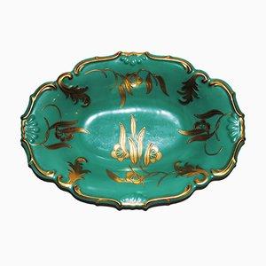 Smaragdgrün-goldene Porzellanschale von Roloff, 1940er