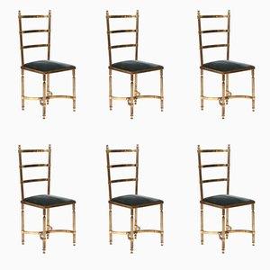 Esszimmerstühle mit Gestell aus massivem Messing, 1970er, 6er Set
