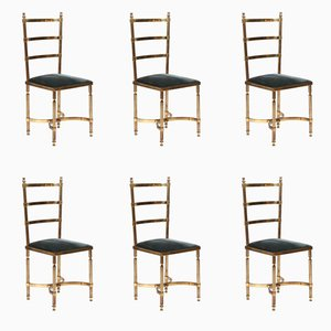 Solid Brass Dining Chairs, 1970s, Set of 6