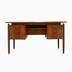 Mid-Century Danish Teak Twin Pedestal Desk