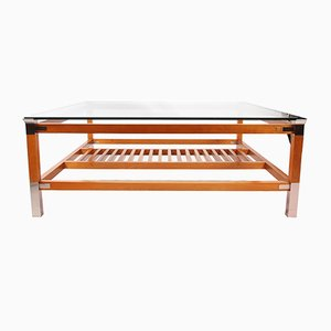 Large Square Hardwood and Steel Coffee Table by Pierre Vandel, 1980s
