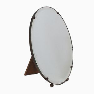 Vintage Oval French Bevelled Glass Dressing Table Mirror, 1950s
