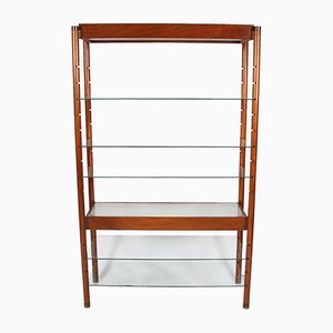 Vintage English Wooden and Glass Bookshelf with Light, 1960s