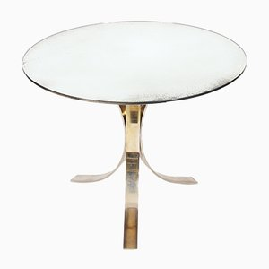 Vintage French Round Mirrored Glass Centre Table, 1970s