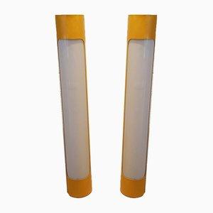 Lámparas de pie vintage cilíndricas amarillas, años 60. Juego de 2