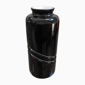 Vaso vintage in vetro di Murano bianco e nero di De Majo Murano, anni '70