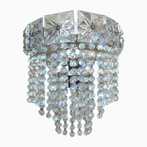 Vintage Glass Crystal Wall Lamp, 1970s
