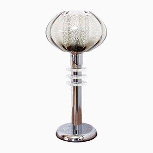 Lámpara de mesa doble italiana vintage de cristal ahumado