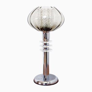 Vintage Italian Double Smoked Glass Table Lamp