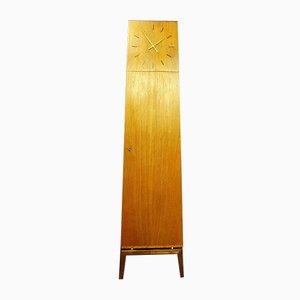 Reloj de caja alta Mid-Century de teca con estantes, años 60