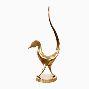 Vintage Modernist Bronze Bird by Yves Lohé