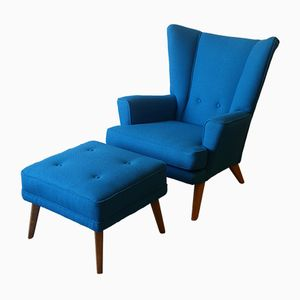 Mid-Century 406 Wingback Armchair & 405 Footstool from G-Plan, 1950s