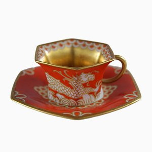 Red Cup with Saucer by Hans Schiffner for Rosenthal, 1924
