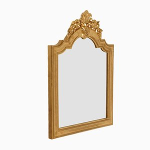 Specchio a muro barocco in legno di noce dorato intagliato a mano, XVIII secolo