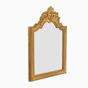 Specchio da parete barocco in legno di noce intagliato a mano, XVIII secolo
