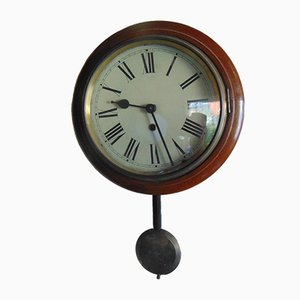Antique Round Wooden Wall Clock from Metron