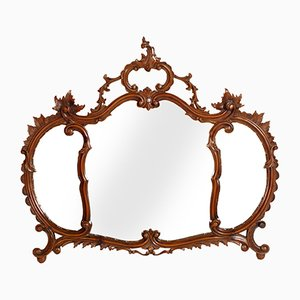 Specchio a muro antico veneziano in legno di noce intagliato di Testolini & Salviati