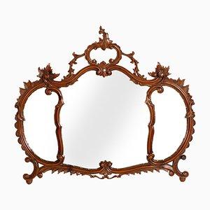 Specchio da parete antico veneziano in legno di noce intagliato di Testolini & Salviati