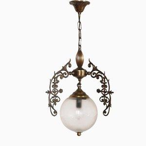 Lampadario Art Nouveau in bronzo e ottone e vetro di Murano