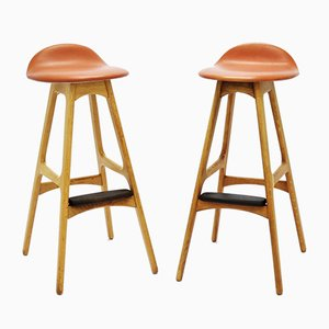 Vintage OD61 Oak & Rosewood Bar Stools by Erik Buch for Oddense Maskinsnedkeri, 1960s, Set of 2