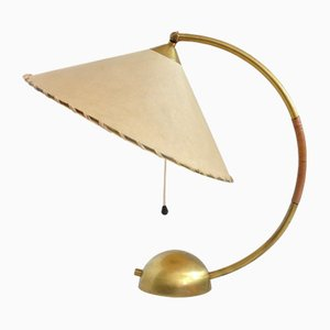 Mid-Century Parchment & Brass Table Lamp, 1960s