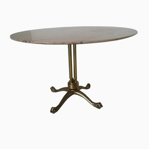 Table Ronde en Laiton et Marbre, 1950s