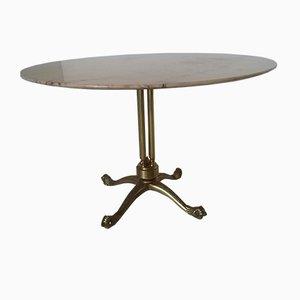 Tavolo rotondo in ottone e marmo, anni '50