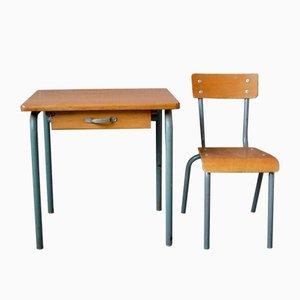 Vintage Kinderschreibtisch & Stuhl