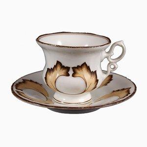Tazza da tè antica con piattini di Carl Tielsch & Co., metà XIX secolo