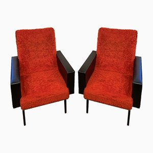 Red Faux Fur Armchairs, 1950s, Set of 2
