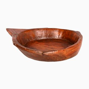 Large Antique Tyrolean Hand-Carved Chestnut Bowl