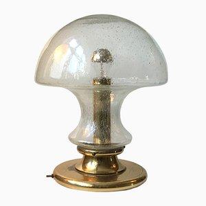 Lámpara de mesa escandinava vintage de latón y vidrio de Jonas Hidle para Høvik Verk, años 60