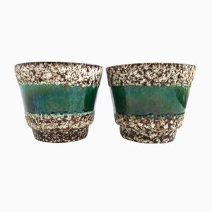 Mid-Century German Fat Lava Plant Pots, 1950s, Set of 2