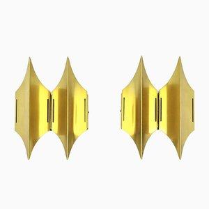 Skandinavische Modell Gothic II Messing Wandlampen von Lyfa, 1960er, 2er Set