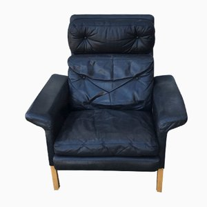 Mid-Century Black Leather Highback Lounge Chair by Hans Olsen for CS Mobelfabrik, 1960s